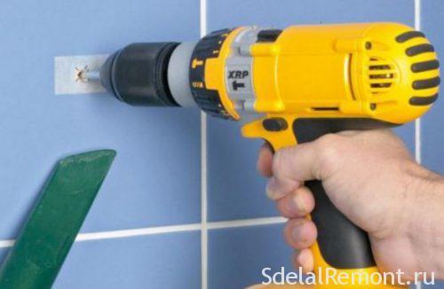 Tile drilling screwdriver