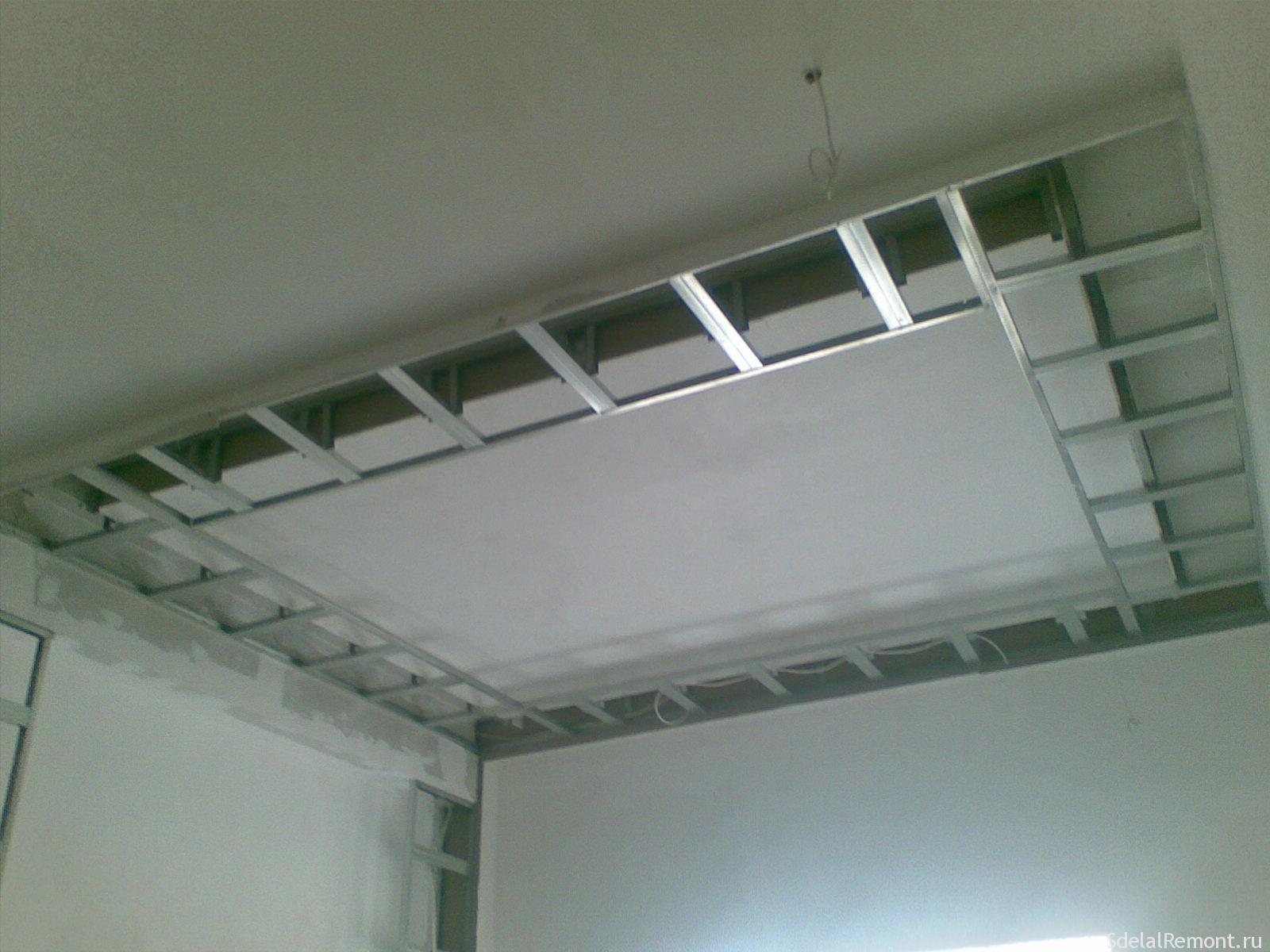 Потолок из гипсокартона своими руками с коробом фото