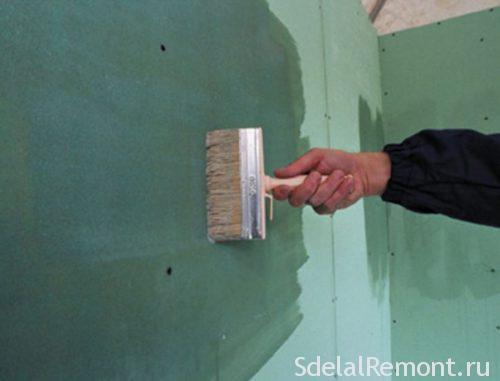 грунтовка гипсокартона перед укладкой плитки