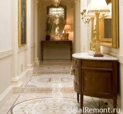 tiles in the hallway near the door