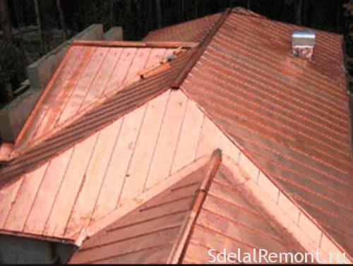 Seam roof of copper