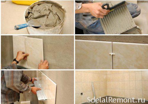 укладка плитки на стену осб