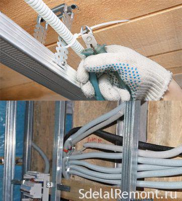электропроводка для подвесного потолка