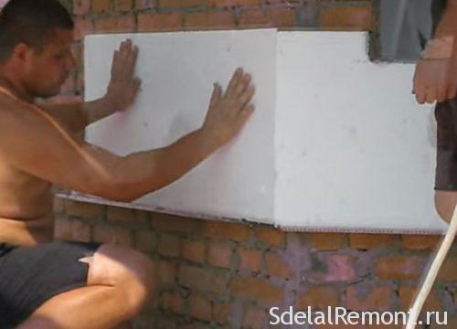 монтаж утеплителя на стены угловой комнаты