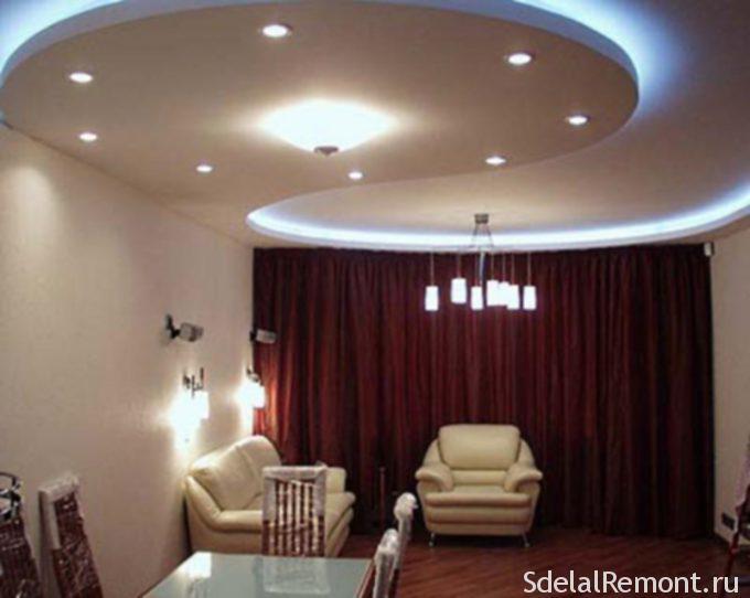Фигурные элементы на двухуровневом потолке со светодиодной лентой