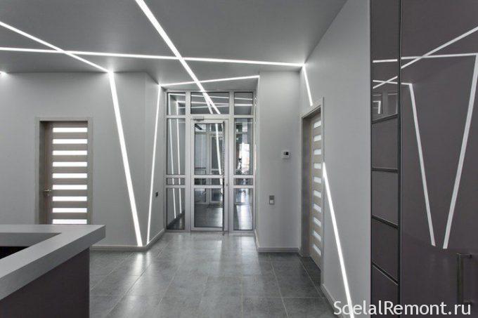 Световые линии на потолке и стенах
