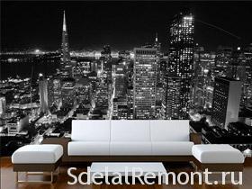 Фотообои с фоном черно-белого ночного города фото