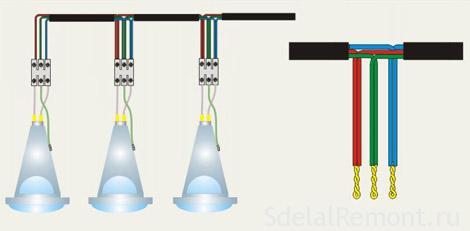 Как подключить точечный светильник фото