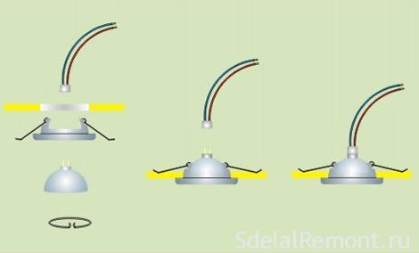 Как установить точечные светильники фото