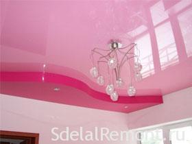 Как выбрать натяжной потолок правильно, фото. Красный и розовый натяжной потолок