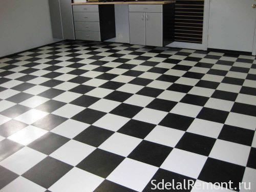 черно белый пол по диагонали