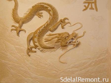 "Панно из декоративной штукатурки ""дракон"" фото"