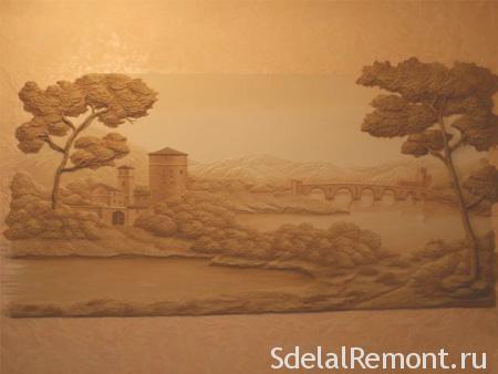 Панно из декоративной штукатурки фото пейзаж замка