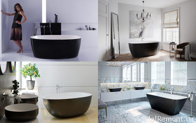 Ванни в чорно-білих тонах фото Viva Lusso