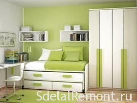 Зеленый цвет в интерьере комнат