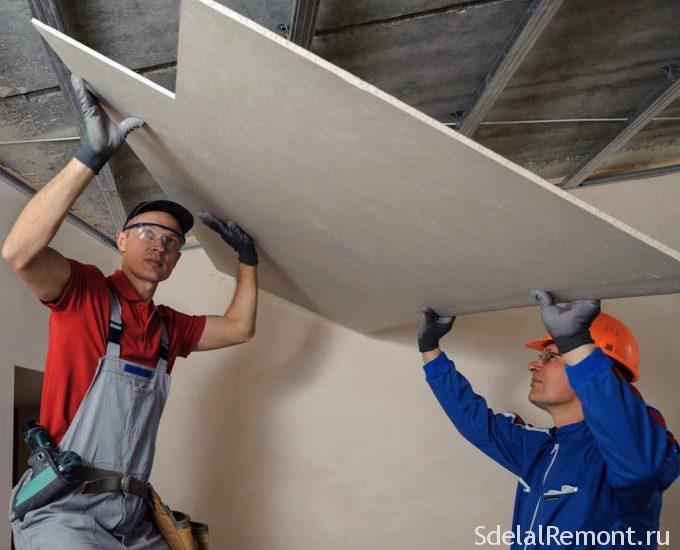 Крепление гипсокартона на потолок к металлическому каркасу
