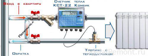Схема установки установки теплосчетчика