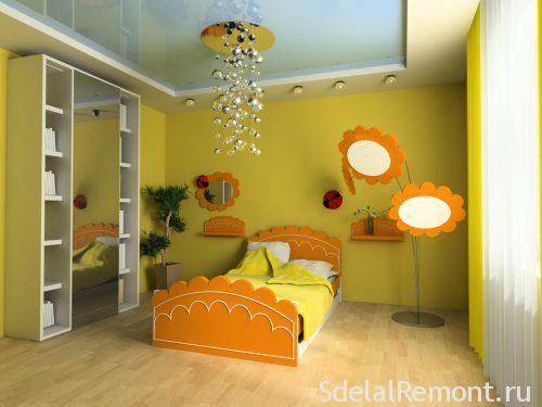 Вариант освещения в  детской спальне