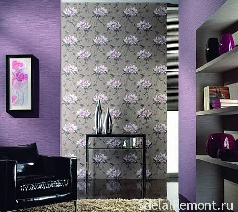 Decoration of the walls with wallpaper
