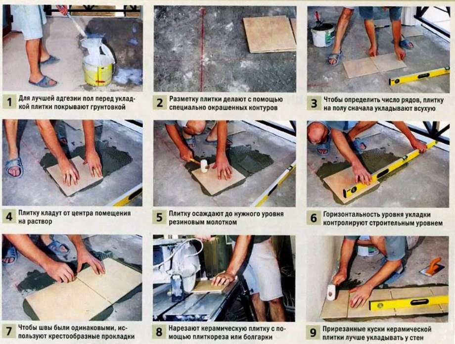 инструкция по укладке плитки на нол