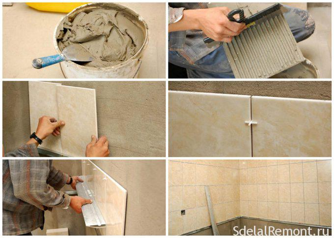 instructions for laying tiles on the wall