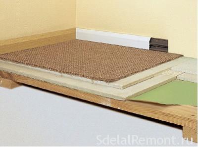 Устройство деревянного пола для плитки